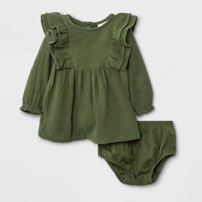 Baby Girls' Gauze Ruffle Shoulder Long Sleeve Dress - Cat & Jack™ Green 3-6M