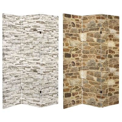 """6"""" Double Sided Stone Wall Canvas Room Divider Gray - Oriental Furniture"""