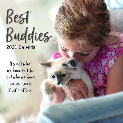 12 x 12 Inch Monthly View 2021 Wall Calendar 16-Month Includes 180 Reminder Stickers Animals Theme Best Friends Calendar