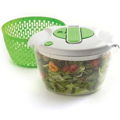 Norpro 6.8 Quart Deluxe Removable Colander Strainer Herb Vegetable Kitchen Salad Spinner, Green/White