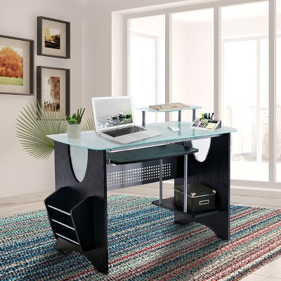 Tempered Glass Computer Desk - Techni Mobili, Brown
