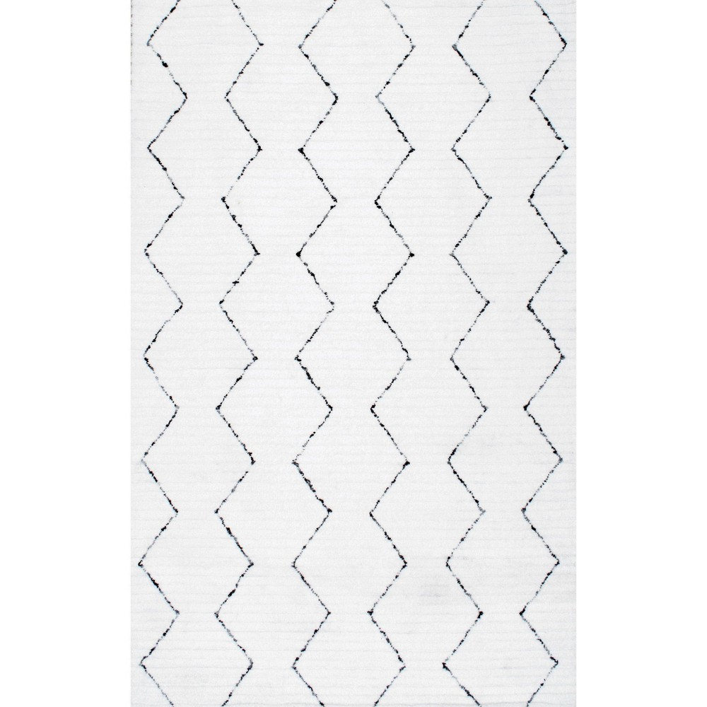 4 X6 Abstract Tufted Area Rug White Nuloom