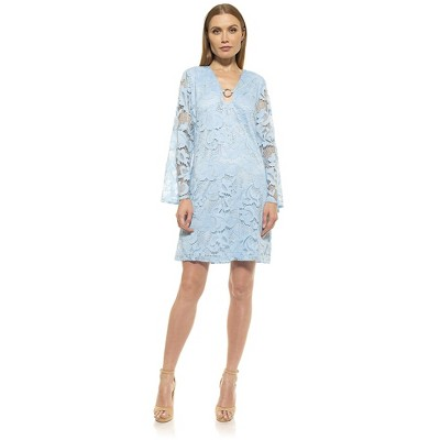 Alexia Admor Faye Flare Sleeve Keyhole Lace Dress
