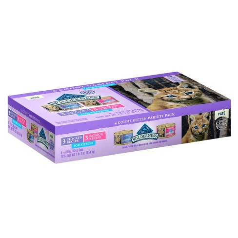 Blue Buffalo Wilderness 100% Grain-Free Chicken/Salmon Pate Kitten Wet Cat Food - 3oz 6ct Variety Pack - image 1 of 1