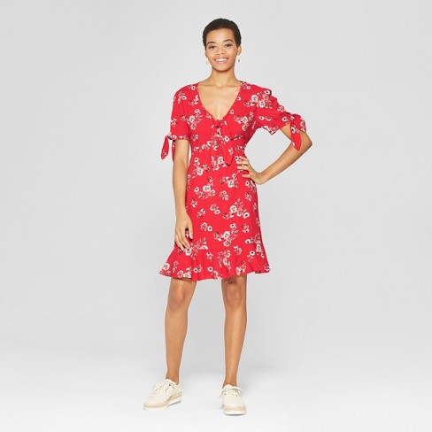 30610b9185fa Women s Floral Print Short Sleeve Tie Front Shirt Dress - Xhilaration™ Coral
