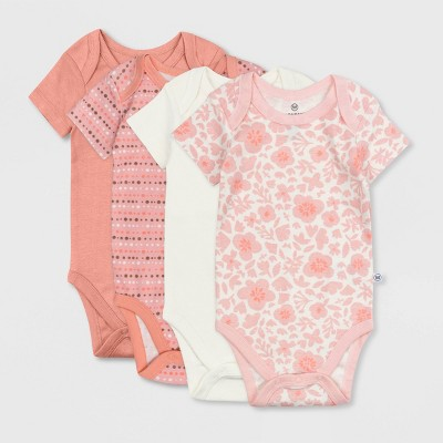 Honest Baby Girls' 4pk Organic Cotton Papercut Floral Short Sleeve Bodysuit - Pink Newborn