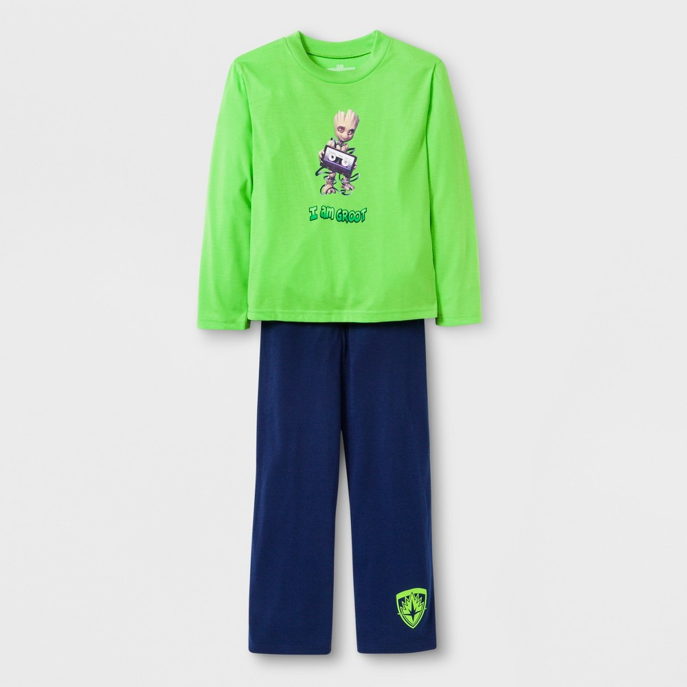 Boys' Guardians of the Galaxy 2pc Pajama Set - Green/Navy 8, Multicolored