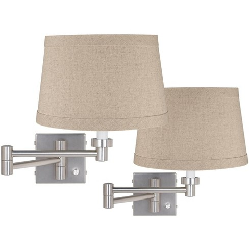 Possini Euro Design Modern Swing Arm Wall Lamps Set of 2 Brushed Nickel Plug-In Light Fixture Natural Linen Drum Shade for Bedroom - image 1 of 2