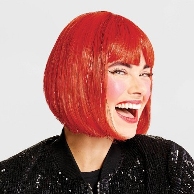 Adult Shimmer Bob Halloween Wig (Red with Red Tinsel) - Hyde & EEK! Boutique™