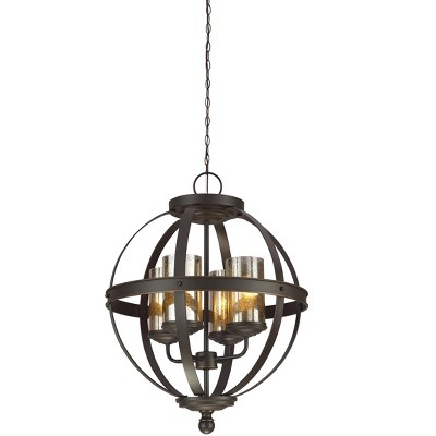 "Sea Gull Lighting Sfera 4-Light 18.5"" Contemporary Chandelier, Autumn Bronze with Mercury Glass Shade"