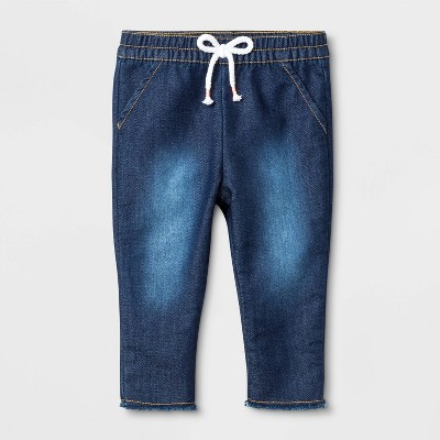 Baby Girls' Raw Edge Denim Jeans - Cat & Jack™ Blue 0-3M