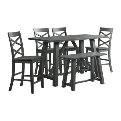 6pc Regan Counter Height Dining Set Table, 4 Side Chairs and Bench Gray - Picket House Furnishings