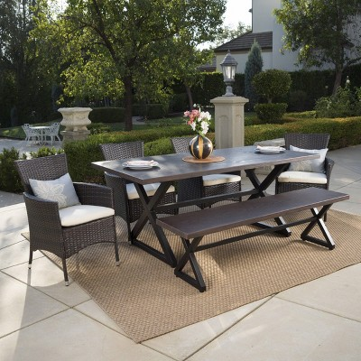 Owen 6pc Aluminum/Wicker Patio Dining Set - Brown - Christopher Knight Home