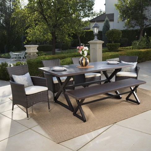 Owen 6pc Aluminum Wicker Patio Dining Set Brown Christopher Knight Home
