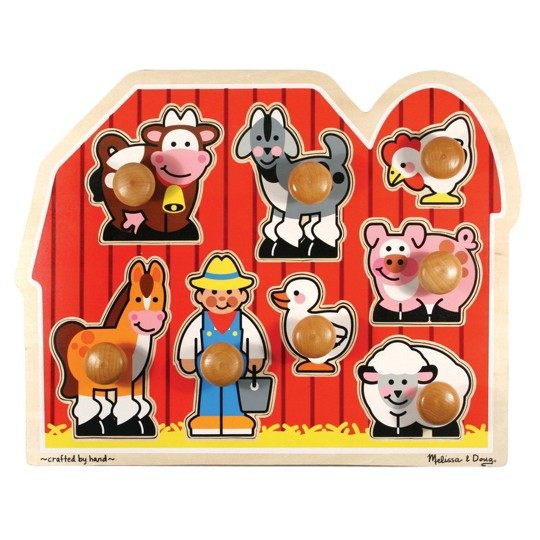 Melissa & Doug Farm Animals Jumbo Knob Wooden Puzzle 8pc image number null