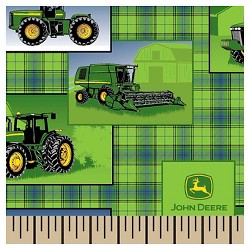 John Deere Plaid Patch Allover Fabric