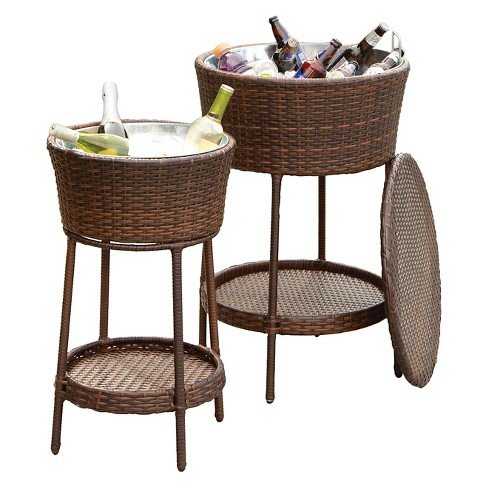 Phaedra 2pc Wicker Bucket Set - Brown - Christopher Knight Home - image 1 of 4
