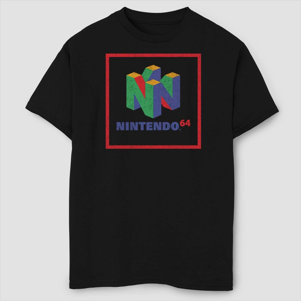 Boys' Nintendo 64 Element Logo T-Shirt - Black XS, Boy's