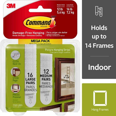 Command Medium And Large Picture Hanging Strips 12 Sets Of Medium