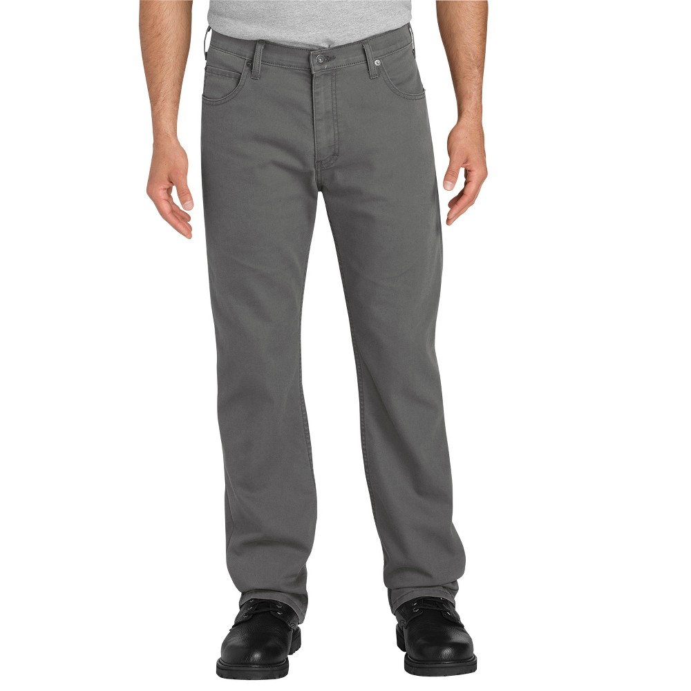 Dickies Men's Tough Max Flex Regular Straight Fit Duck Canvas 5-Pocket Pants - Gray 32x32