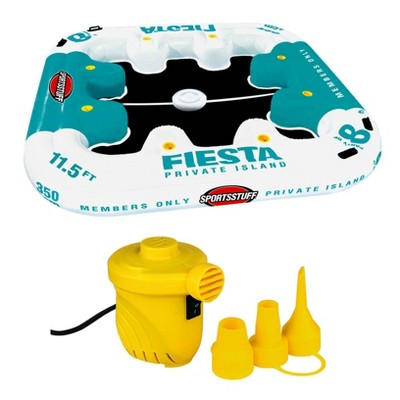 Sportsstuff Fiesta Island 8-Person Raft with Cooler and 12Volt Portable Air Pump