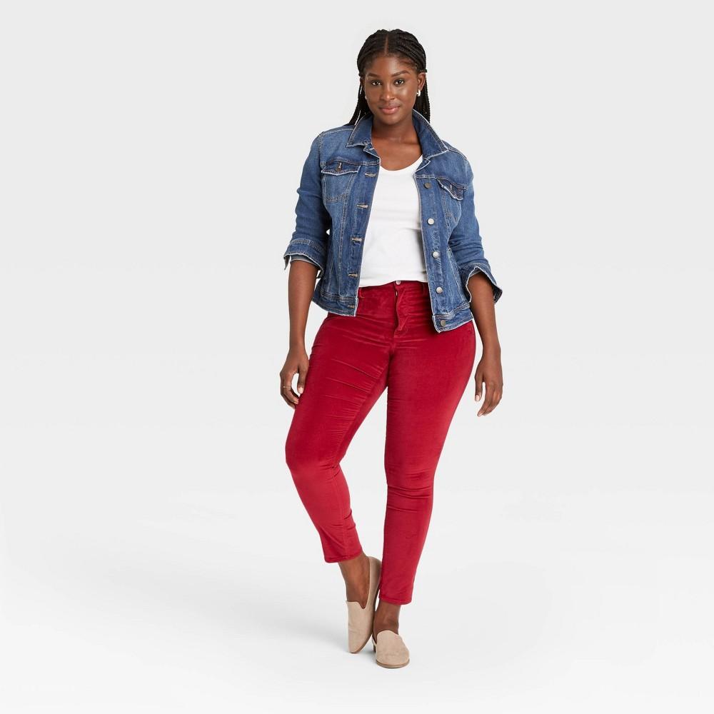 Women 39 S High Rise Velvet Skinny Jeans Universal Thread 8482 Red 8