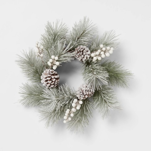 """12"""" Artificial Flocked Wreath White - Threshold™ - image 1 of 3"""