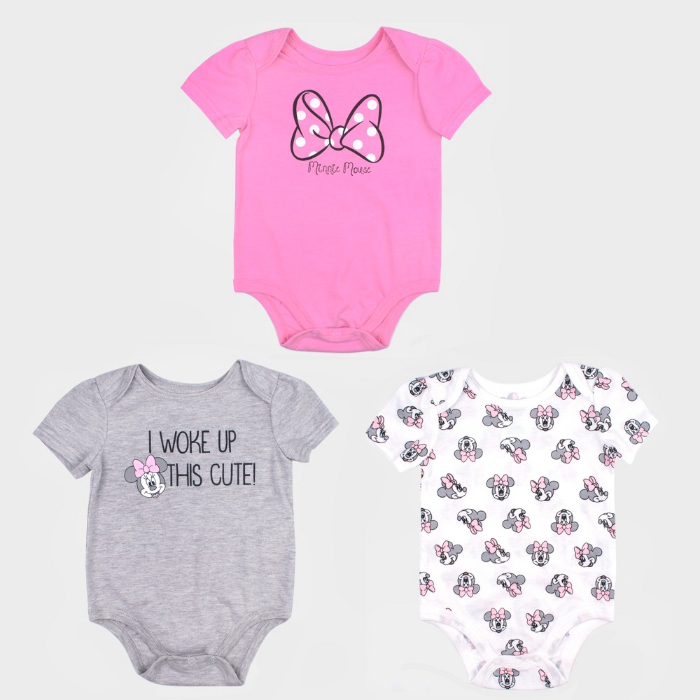 Baby Girls' 3pk Disney Mickey Mouse & Friends Minnie Mouse Bodysuit Set - Pink/Gray 24M