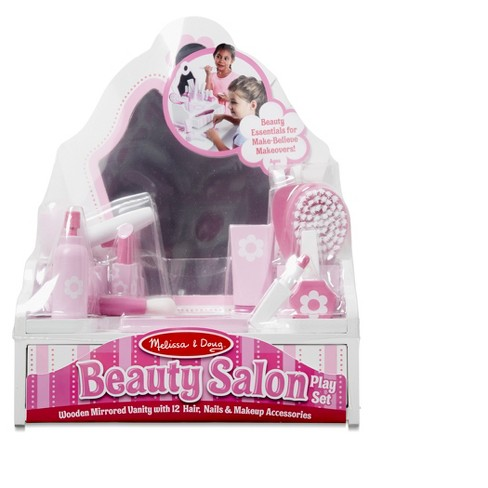 Melissa Doug Wooden Beauty Salon Play Set With Vanity And