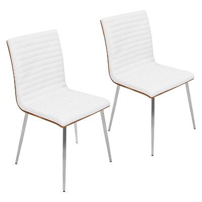 Set of 2 Mason Swivel Modern Walnut Wood Back Dining Chairs - Lumisource