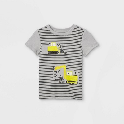 Toddler Boys' Construction Striped Graphic Short Sleeve T-Shirt - Cat & Jack™ Light Gray Heather