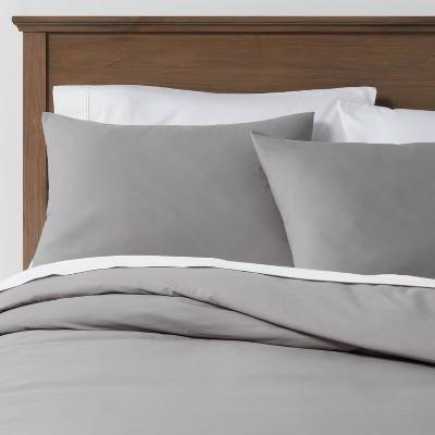 Full/Queen Organic Solid Duvet & Sham Set Gray - Threshold™