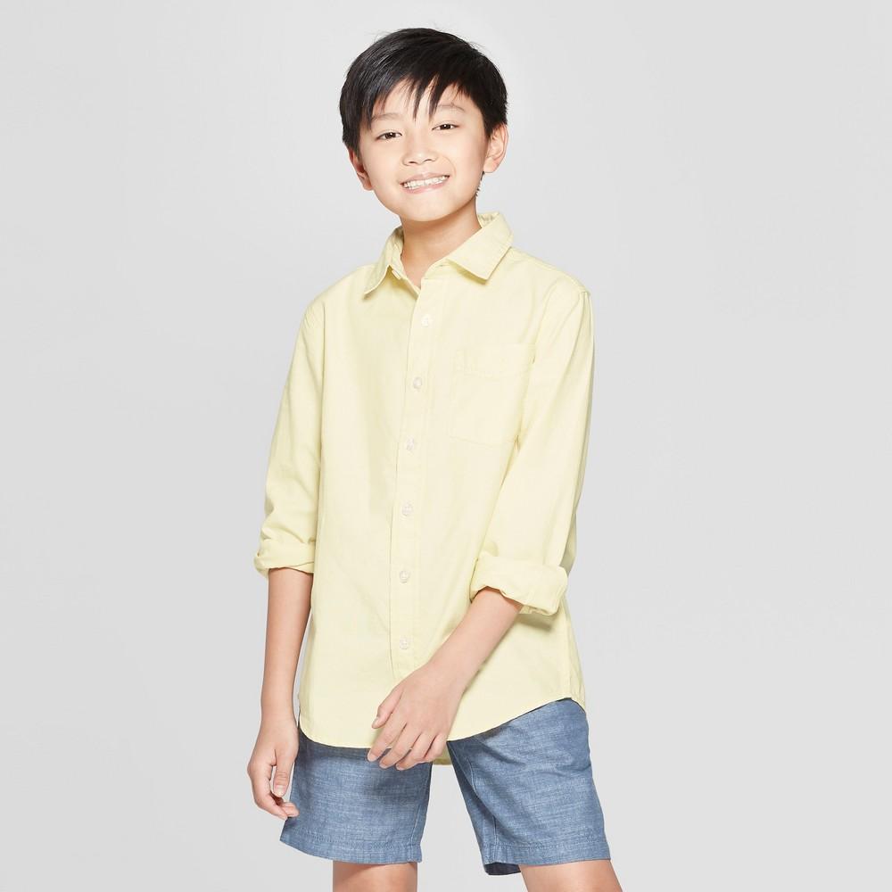 Boys' Long Sleeve Oxford Button-Down Shirt - Cat & Jack Yellow L Husky