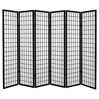 6 ft. Tall Canvas Window Pane Room Divider - Black (6 Panels)