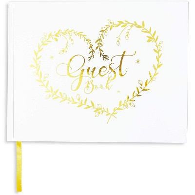 Paper Junkie White Rustic White Wedding Guest Book with Gold Foil for Wedding, Baby Shower 9 x 7 in