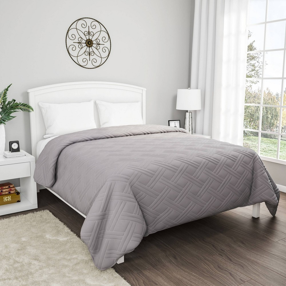 Solid Color Bed Quilt King Silver Yorkshire Home