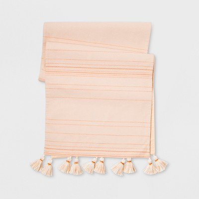 90 x20  Extended With Tassels Table Runner Blush - Opalhouse™
