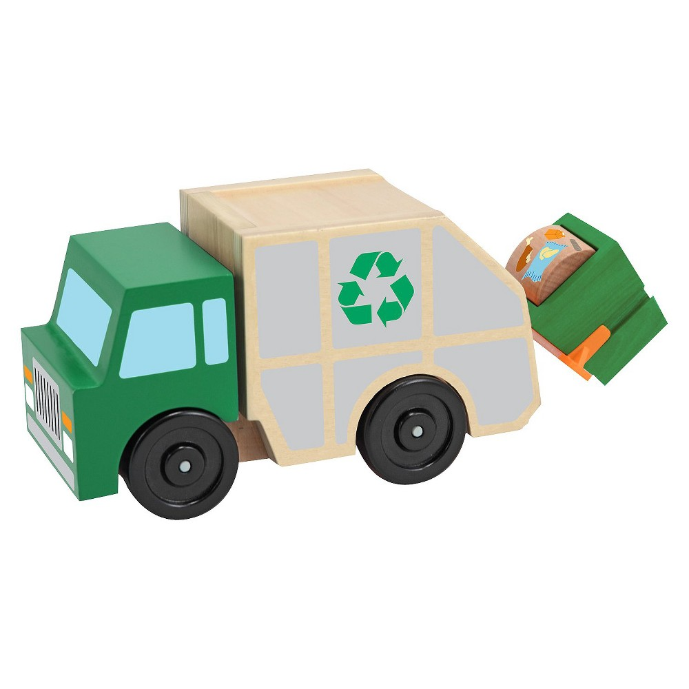 Melissa & Doug Garbage Truck Wooden Vehicle Toy (3pc)