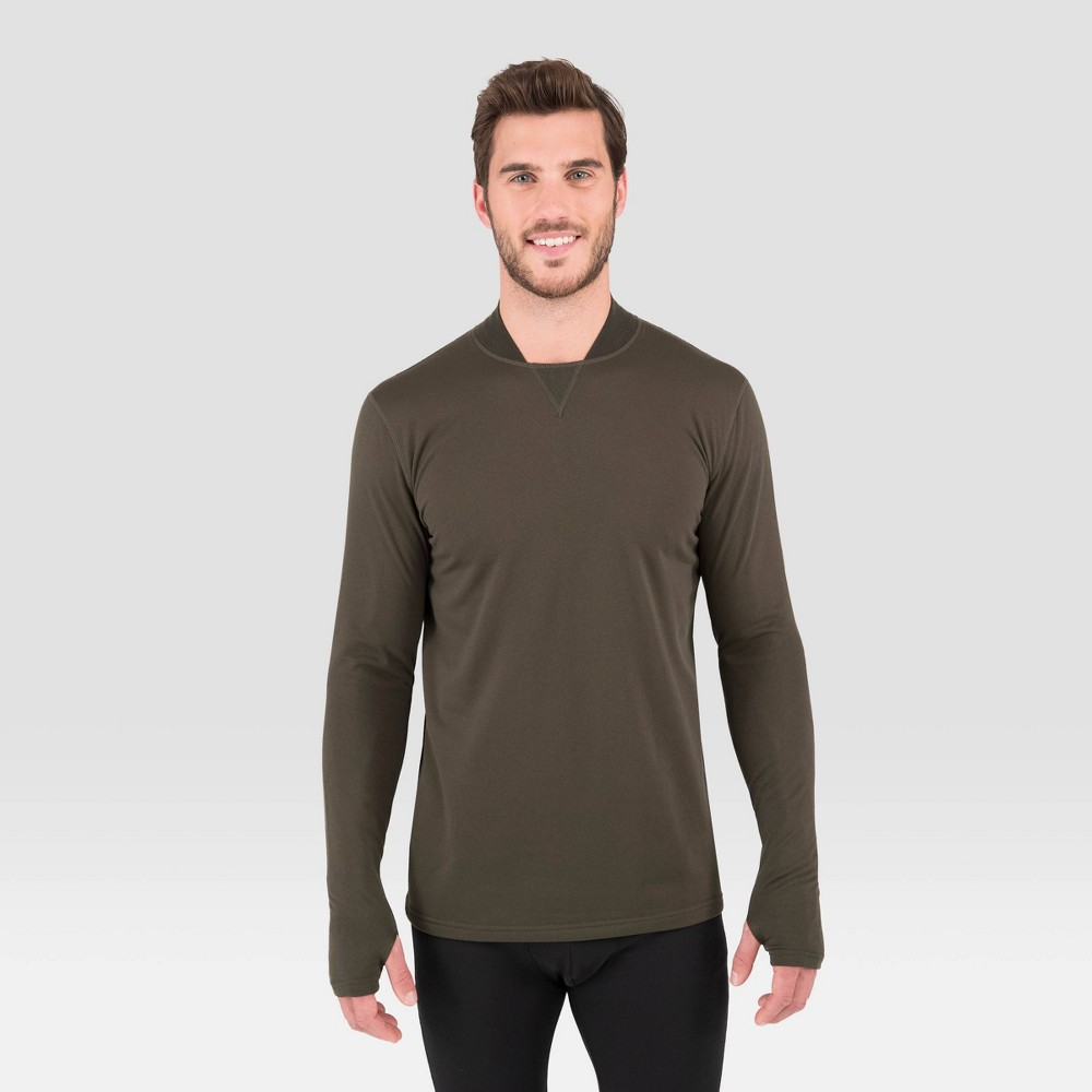 Image of Men's Terramar Long Sleeve 3.0 Thermal Mock Neck T-Shirt - Moss L, Size: Large, Green