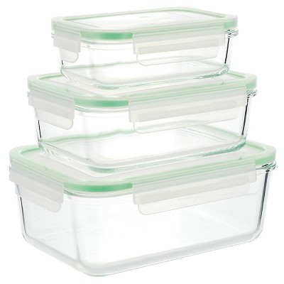 Kinetic GoGreen Glassworks 6-Piece Rectangular Oven Safe Glass Food Storage Container Set with Lid