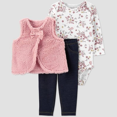 Baby Girls' 3pc Sherpa Vest,Floral Bodysuit Top & Bottom Set - Just One You® made by carter's Pink/White 9M