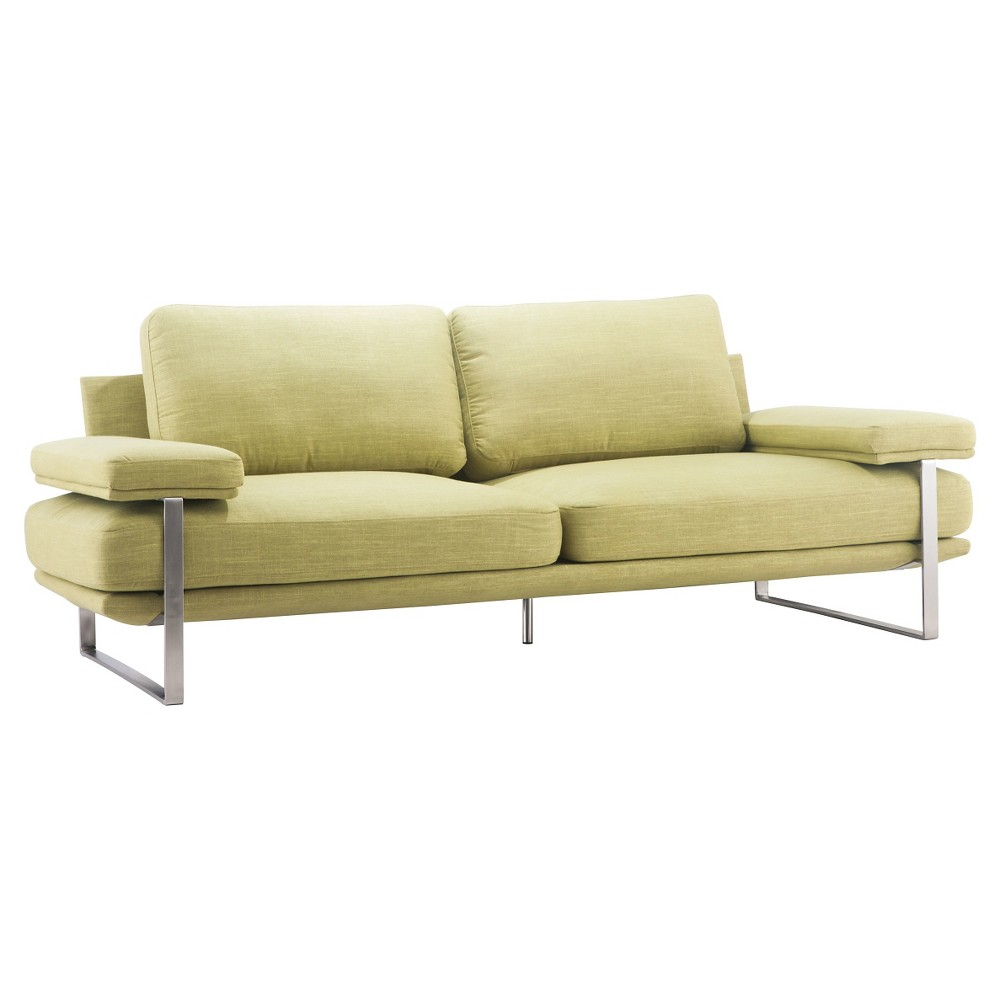 Mid-Century Modern Upholstered and Brushed Stainless Steel 86 Sofa - ZM Home, Green