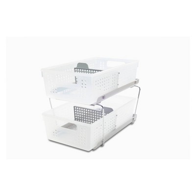Two-Tier Organizer with Dividers Frost/Gray - Madesmart