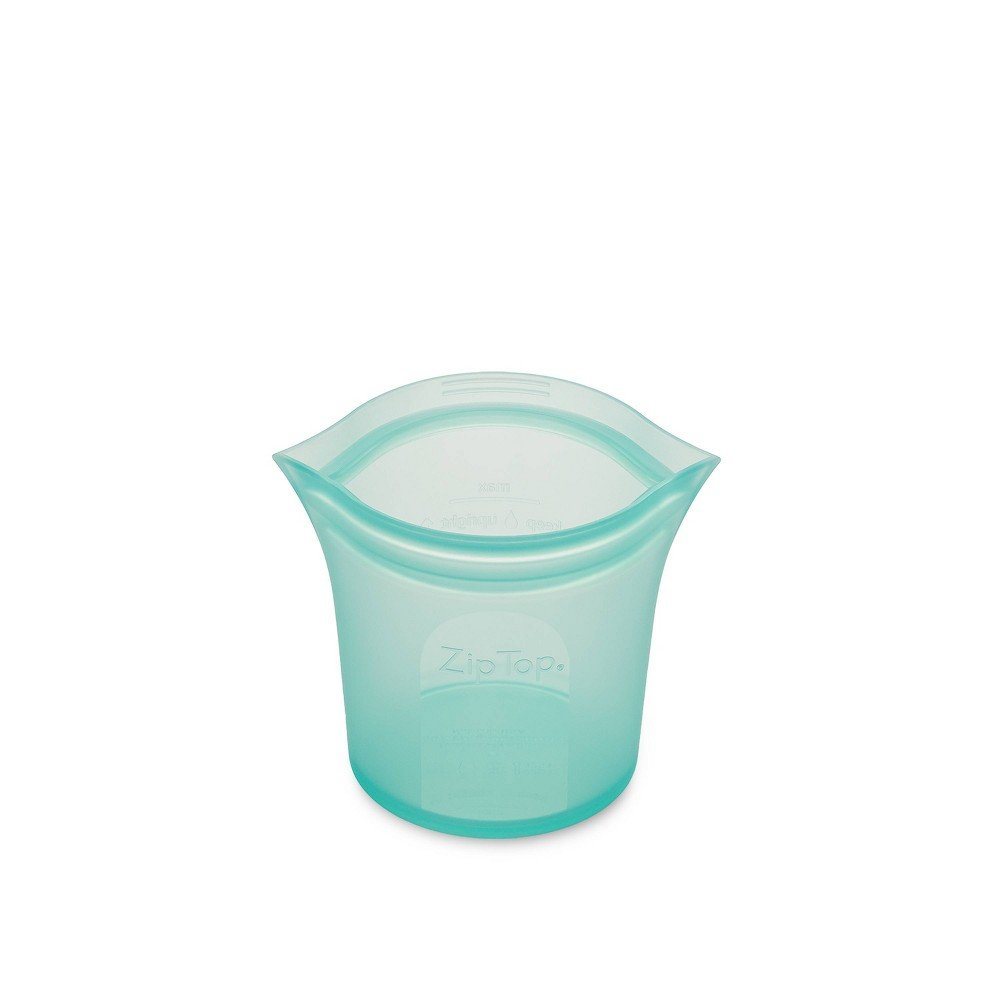 Image of Zip Top 8oz Reusable 100% Platinum Silicone Container - Short Cup - Teal