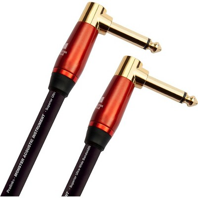 Monster Cable Prolink Acoustic Pro Audio Instrument Cable, Right Angle to Right Angle 8 in. Black