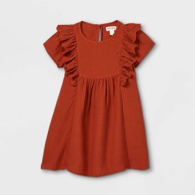 Toddler Girls' Ruffle Sleeve Dress - Cat & Jack™ Rust Orange