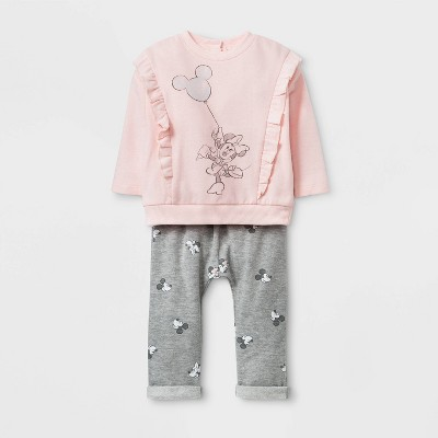 Baby Girls' 2pc Disney Minnie Mouse Fleece Top and Bottom Set - Pink 3-6M