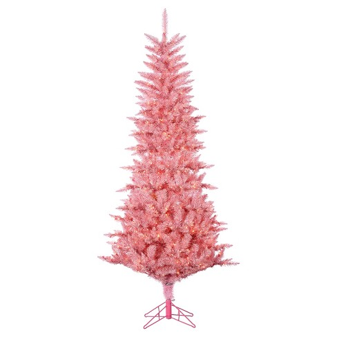 7 5ft Pre Lit Artificial Christmas Tree Pink Tuscany Tinsel Clear Lights