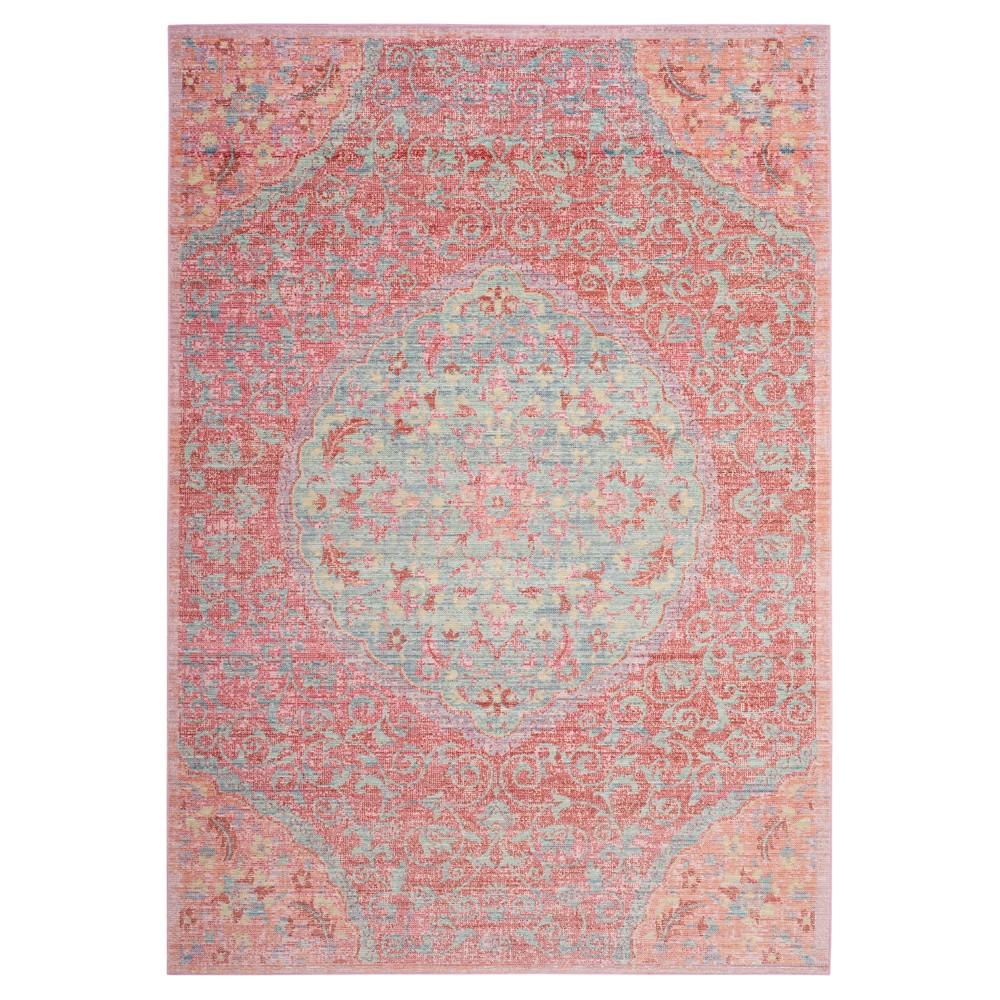 Rose Floral Loomed Area Rug 9'X13' - Safavieh, Pink/Seafoam