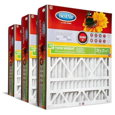 BestAir 3pk 20X25X5 Replacement Air Furnace Filter Merv 11
